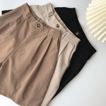 Casual pants Black, khaki, apricot Average size Spring 2021 Pant Wide leg pants High waist commute routine 18-24 years old 96% and above polyester fiber Korean version pocket polyester fiber