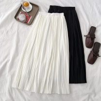 skirt Spring 2021 Average size White, black Mid length dress commute High waist Pleated skirt Solid color Type A 18-24 years old More than 95% polyester fiber Korean version