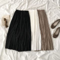 skirt Spring 2021 Average size White, black, brown Mid length dress commute High waist Pleated skirt Solid color Type A 18-24 years old More than 95% polyester fiber Korean version