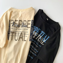 T-shirt Black, apricot M,L,XL Summer 2021 Short sleeve Crew neck easy Regular routine commute cotton 96% and above 18-24 years old Korean version classic