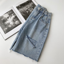 Jeans Spring 2021 blue S,M,L trousers High waist Wide legged trousers routine 18-24 years old Zipper, button, multiple pockets Cotton denim light colour 96% and above
