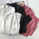 shirt Black, white, rose Average size Summer 2021 polyester fiber 96% and above Long sleeves commute Regular Polo collar Single row multi button shirt sleeve Solid color 18-24 years old Straight cylinder Korean version Button polyester cotton