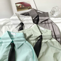 shirt White no tie, gray no tie, light green no tie, grass green no tie, black tie Average size Spring 2021 cotton 51% (inclusive) - 70% (inclusive) Long sleeves commute Regular Polo collar Single row multi button routine Solid color 18-24 years old Straight cylinder Korean version Button