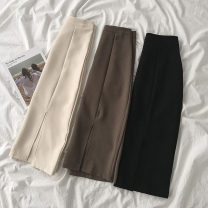 skirt Spring 2021 S,M,L Brown, black, apricot longuette commute High waist A-line skirt Solid color Type A 18-24 years old More than 95% polyester fiber Korean version