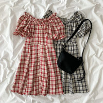 Dress Spring 2021 Black, red Average size Short skirt singleton  Short sleeve commute V-neck High waist lattice Socket A-line skirt pagoda sleeve Others 18-24 years old Type A Korean version Button 51% (inclusive) - 70% (inclusive) other cotton