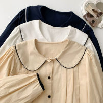 shirt Blue, white, apricot Average size Spring 2021 polyester fiber 96% and above Long sleeves commute Regular Doll Collar Single row multi button routine Solid color 18-24 years old Straight cylinder Korean version Button Synthetic fiber