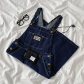 Dress Spring 2021 navy blue S,M,L Middle-skirt singleton  Sleeveless commute High waist Solid color Socket A-line skirt straps 18-24 years old Type A Korean version Pocket, button More than 95% Denim cotton