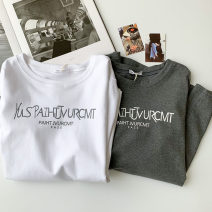T-shirt Grey, white Average size Summer 2021 Short sleeve Crew neck easy Regular routine commute cotton 96% and above 18-24 years old Korean version originality letter printing