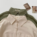 shirt Apricot, green Average size Spring 2021 polyester fiber 96% and above Long sleeves commute Regular Polo collar Single row multi button shirt sleeve Solid color 18-24 years old Straight cylinder Korean version Button Synthetic fiber