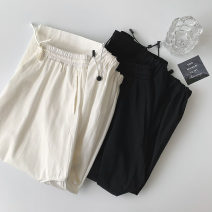 skirt Summer 2021 Average size Black, white Mid length dress commute High waist A-line skirt Solid color Type A 18-24 years old More than 95% other polyester fiber Pleats, pockets Korean version