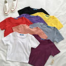T-shirt Red, white, lemon yellow, purple, black, orange pink, hazel blue, grape purple Average size Summer 2021 Short sleeve Crew neck Self cultivation have cash less than that is registered in the accounts routine commute cotton 96% and above 18-24 years old Korean version youth Solid color