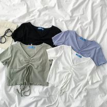 T-shirt Black, green, white, blue Average size Summer 2021 Short sleeve V-neck have cash less than that is registered in the accounts commute cotton 96% and above 18-24 years old Korean version