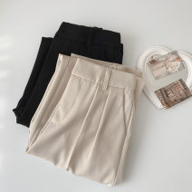 Casual pants Black extension, apricot extension, black regular, apricot regular S,M,L,XL Spring 2021 trousers Wide leg pants High waist commute routine 18-24 years old 96% and above polyester fiber Korean version cotton
