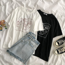 T-shirt White, black Average size Summer 2021 Short sleeve Crew neck easy Regular routine commute cotton 96% and above 18-24 years old Korean version