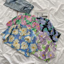 shirt Purple flowers, blue flowers, pink flowers, yellow flowers Average size Summer 2021 polyester fiber 96% and above Short sleeve commute Regular tailored collar Single row multi button routine other 18-24 years old Straight cylinder Korean version polyester cotton
