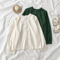 shirt routine Auricularia auricula polyester fiber 96% and above Spring 2021 Long sleeve commute Regular payment stand collar Solid color Single row multi button 18-24 years old 9073053 Straight tube Korean version One size fits all