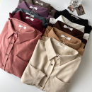 shirt Average size Spring 2021 polyester fiber 96% and above Long sleeves commute Medium length Polo collar Single row multi button shirt sleeve Solid color 18-24 years old Straight cylinder Korean version Pocket, button Synthetic fiber
