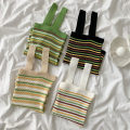 Vest sling Spring 2021 Black, white, apricot, green Average size singleton  routine Self cultivation commute stripe 18-24 years old 96% and above acrylic fibres thread