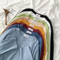 T-shirt Red, dark blue, yellow, apricot, light blue, green, black, white Average size Spring 2020 Long sleeves Crew neck easy Regular routine commute polyester fiber 96% and above 18-24 years old Korean version youth Solid color