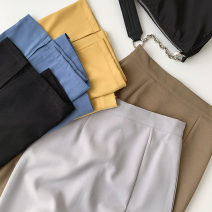 skirt Summer 2021 S,M,L Black, blue, light gray, khaki, yellow Mid length dress commute High waist A-line skirt Solid color Type A 18-24 years old More than 95% other polyester fiber Korean version