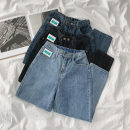 Jeans Spring 2021 Retro Blue, blue grey, black grey S,M,L trousers High waist Straight pants routine 18-24 years old Zipper, button, multiple pockets Cotton elastic denim light colour 96% and above