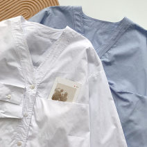 shirt Blue, white Average size Spring 2021 cotton 51% (inclusive) - 70% (inclusive) Long sleeves commute Regular V-neck Single row multi button shirt sleeve Solid color 18-24 years old Straight cylinder Korean version