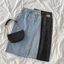 skirt Spring 2021 S,M,L Black, blue Mid length dress commute High waist A-line skirt Solid color Type A 18-24 years old More than 95% Denim cotton Button, zipper Korean version