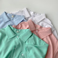 shirt Blue, green, white, pink Average size Summer 2021 polyester fiber 96% and above Short sleeve commute Regular Polo collar Single row multi button routine Solid color 18-24 years old Straight cylinder Korean version polyester cotton