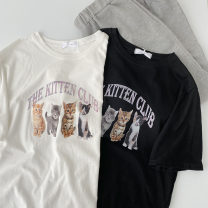 T-shirt Black, white Average size Summer 2021 Short sleeve Crew neck easy Regular routine commute cotton 51% (inclusive) - 70% (inclusive) 18-24 years old Korean version classic letter printing