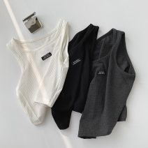 Vest sling Summer 2021 White, black, grey Average size singleton  have cash less than that is registered in the accounts Self cultivation commute I-shaped Solid color 18-24 years old 96% and above polyester fiber Sticking cloth