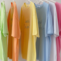 T-shirt White, blue, yellow, green, pink, orange Average size Spring 2021 Short sleeve Crew neck easy Medium length routine commute cotton 51% (inclusive) - 70% (inclusive) 18-24 years old Korean version classic letter letter