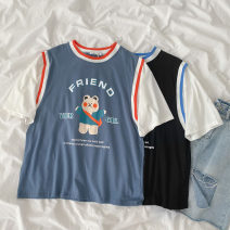 T-shirt Black, blue Average size Spring 2021 Short sleeve Crew neck easy Regular routine commute cotton 96% and above 18-24 years old Korean version classic Cartoon, animation, letters printing