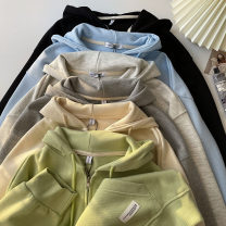 Sweater / sweater Spring 2021 Average size Long sleeves routine Cardigan singleton  routine Hood easy commute Wrap sleeves Solid color 18-24 years old 71% (inclusive) - 80% (inclusive) Korean version cotton cotton zipper