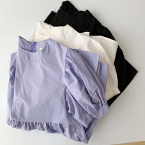 Dress Spring 2021 White, black, purple Average size Short skirt singleton  Short sleeve commute Crew neck High waist Solid color Socket other routine 18-24 years old Type A Korean version zipper More than 95% other cotton