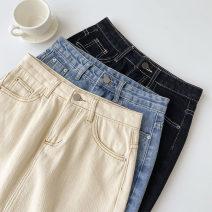 skirt Spring 2021 S,M,L Black, blue, apricot Short skirt commute High waist A-line skirt Solid color Type A 18-24 years old More than 95% Denim cotton Button, zipper Korean version