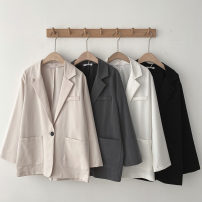 suit Spring 2021 Black, apricot, white, gray Average size Long sleeves Medium length Straight cylinder tailored collar A button commute routine Solid color 18-24 years old 96% and above Pocket, button