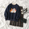Fashion suit Autumn 2020 Average size Navy blue sweater, green skirt 18-25 years old 96% and above polyester fiber
