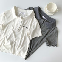 T-shirt White, gray Average size Spring 2021 Short sleeve Polo collar Self cultivation have cash less than that is registered in the accounts routine commute cotton 96% and above 18-24 years old Korean version classic letter