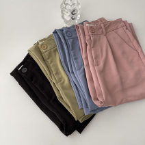 Casual pants Blue, green, black, pink S,M,L Spring 2021 trousers Wide leg pants High waist commute routine 18-24 years old 96% and above polyester fiber Korean version zipper polyester fiber