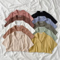 shirt Average size Spring 2021 polyester fiber 96% and above Short sleeve commute Regular tailored collar Single row multi button routine Solid color 18-24 years old Straight cylinder Korean version