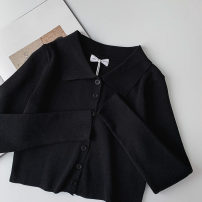Wool knitwear Summer 2021 Average size black Long sleeves singleton  Cardigan Viscose More than 95% have cash less than that is registered in the accounts routine commute Self cultivation Polo collar routine Solid color Single breasted Korean version 18-24 years old Button