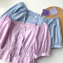 shirt Blue, purple Average size Spring 2021 cotton 51% (inclusive) - 70% (inclusive) Short sleeve commute Short style (40cm < length ≤ 50cm) One word collar Single row multi button routine Solid color 18-24 years old Straight cylinder Korean version Button polyester cotton