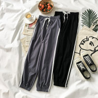 Casual pants Grey black Average size Autumn of 2018 trousers Straight pants High waist commute routine 18-24 years old 0806912 cotton Korean version
