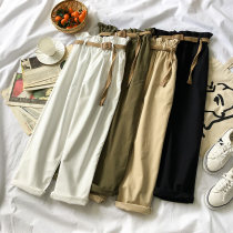 Casual pants White Khaki Green Black Average size Autumn of 2018 trousers Wide leg pants High waist commute routine 18-24 years old 96% and above belt