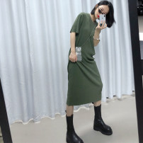 Dress Summer 2021 Army green, black Average size longuette singleton  Short sleeve commute Crew neck Loose waist Solid color Socket Irregular skirt routine Others 18-24 years old Type H Simplicity Crimping 51% (inclusive) - 70% (inclusive) other cotton
