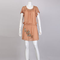 Dress Summer 2013 Coffee L,XL Short skirt Two piece set Short sleeve Sweet Crew neck low-waisted Solid color Socket Pleated skirt Lotus leaf sleeve Others 30-34 years old More than 95% polyester fiber Bohemia