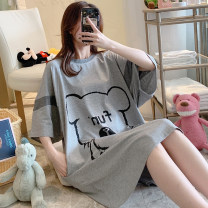 Nightdress Other / other Grey bear cotton nightdress M,L,XL,2XL,3XL,4XL Cartoon Short sleeve pajamas Middle-skirt summer Cartoon animation youth Crew neck cotton printing More than 95% pure cotton 200g and below