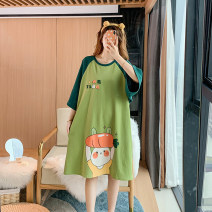 Nightdress Other / other Green radish rabbit cotton nightdress M,L,XL,2XL,3XL,4XL Sweet Short sleeve pajamas Middle-skirt summer Cartoon animation youth Crew neck cotton printing More than 95% pure cotton 200g and below