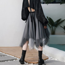 skirt Spring 2021 S,M,L grey Mid length dress Retro Natural waist Irregular other Type A 18-24 years old QL210122166 More than 95% other Big dragon shop nylon