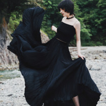 skirt Spring 2021 Long, short black longuette commute Natural waist Pleated skirt Solid color Type A 18-24 years old More than 95% other Big dragon shop other fold Retro